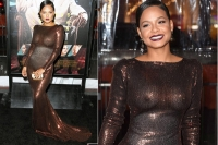 Christina milian flashes assets in see through gown