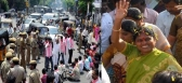 telangana protesters attack on ys vijayamma
