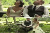 Video shows newlyweds barely escape tree branch