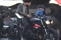 Prabhas spotted on triumph street triple rs during sahoo shoot