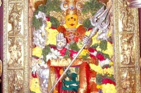 Durga devi atop indrakeeladri attired as sri lalitha tripurasundari devi on sixth day of dasara celebrations