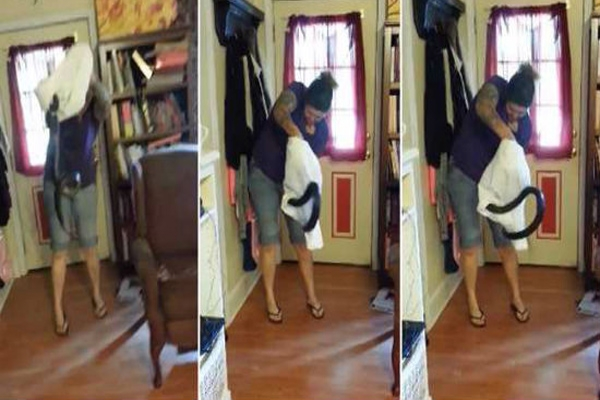 Woman catches snake in pillow case like a total boss video gone viral